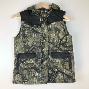 BDG Camo and faux leather hooded vest S